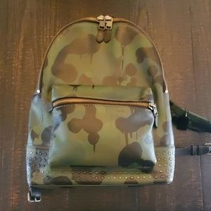 Coach camo print leather backpack